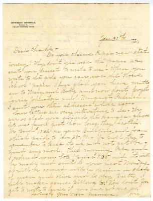 Letter from Clara Comstock Russell to Charles C. Russell (January 30, 1901)