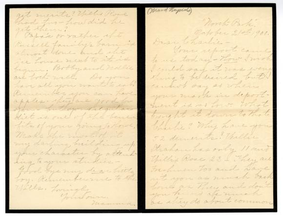 Letter from Clara Comstock Russell to Charles C. Russell (October 21, 1900)