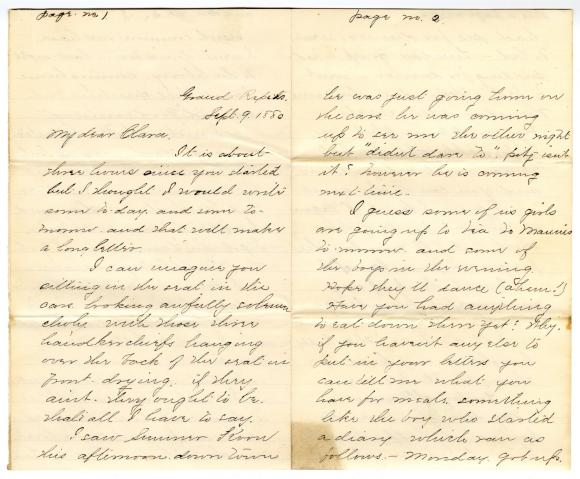 Letter from Cassie to Clara Comstock Russell (September 9, 1880)
