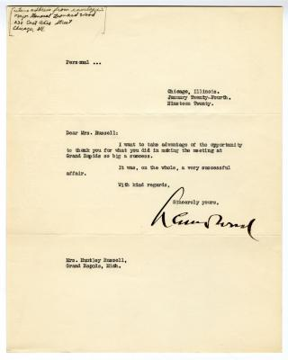 Letter from Unknown to Clara Comstock Russell (January 24, 1920)