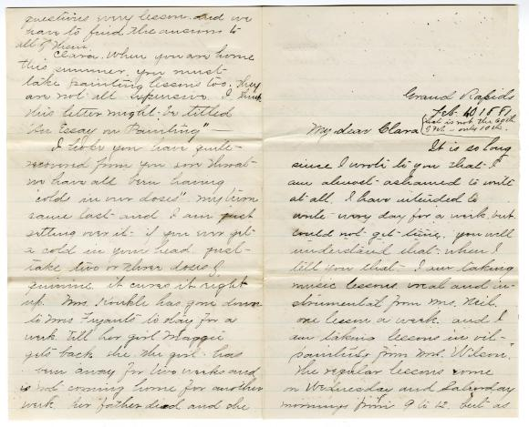 Letter from Cassie to Clara Comstock Russell (February 10, 1881)