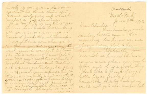 Letter from Clara Comstock Russell to Charles C. Russell (June 9, 1903)