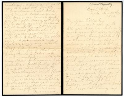 Letter from Clara Comstock Russell to Charles C. Russell (September 20th, 1900)
