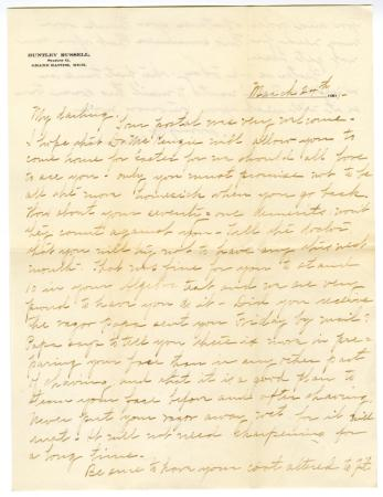 Letter from Clara Comstock Russell to Charles C. Russell (March 24, 1901)