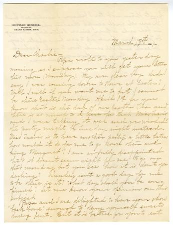 Letter from Clara Comstock Russell to Charles C. Russell (March 18, 1901)