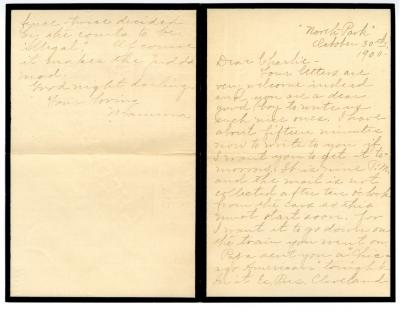 Letter from Clara Comstock Russell to Charles C. Russell (October 30, 1900)
