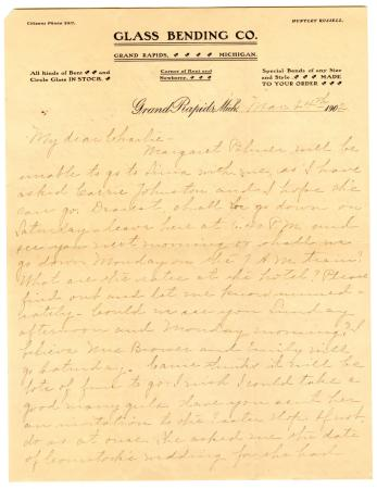 Letter from Clara Comstock Russell to Charles C. Russell (March 24, 1902)