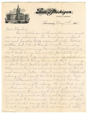 Letter from Clara Comstock Russell to Charles C. Russell (May 17, 1905)