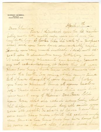 Letter from Clara Comstock Russell to Charles C. Russell (April 11, 1901)