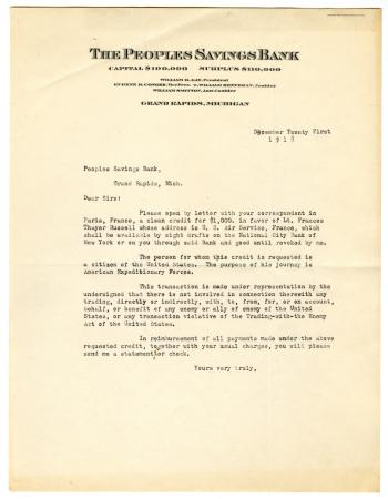 Letter from The People's Saving Bank to Clara Comstock Russell (December 21, 1918)