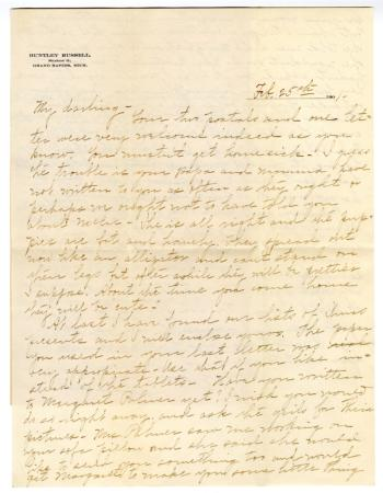 Letter from Clara Comstock Russell to Charles C. Russell (February 25, 1901)