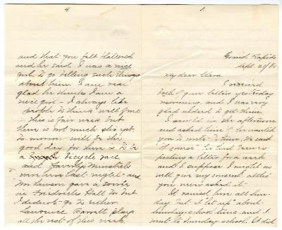 Letter from Cassie to Clara Comstock Russell (September 21, 1880)
