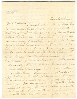 Letter from Clara Comstock Russell to Charles C. Russell (March 11, 1901)