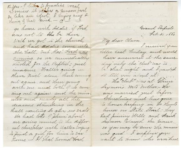 Letter from Cassie to Clara Comstock Russell (February 21, 1880)