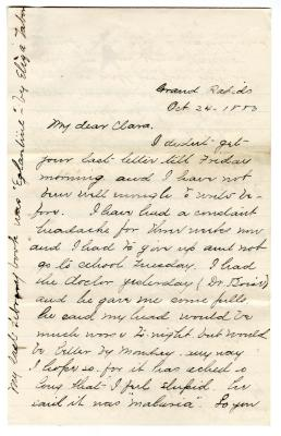 Letter from Cassie to Clara Comstock Russell (October 24, 1880)