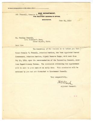 Letter from The War Department to Huntley Russell (June 26, 1918)