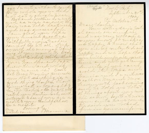 Letter from Clara Comstock Russell to Charles C. Russell (September 30, 1900)