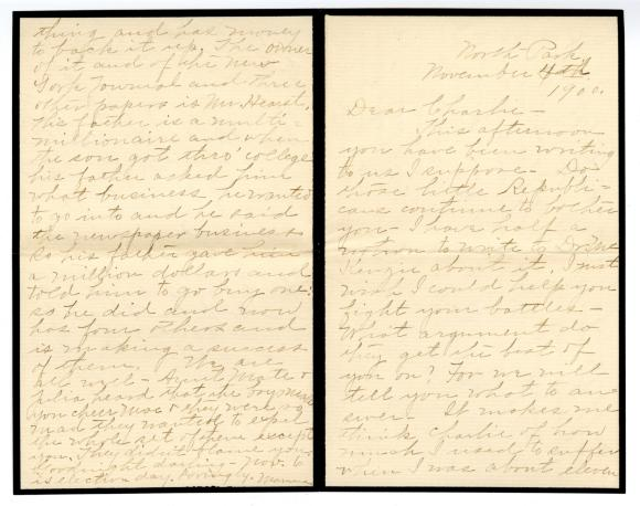 Letter from Clara Comstock Russell to Charles C. Russell (November 4, 1900)