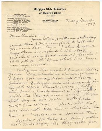 Letter from Clara Comstock Russell to Charles C. Russell (November 15, 1929)