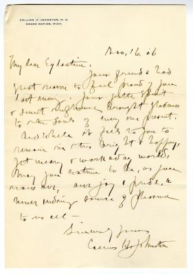 Letter from Collins Johnston M.D. to Unknown (November 6, 1908)