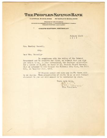 Letter from The People's Saving Bank to Clara Comstock Russell (January 6, 1919)