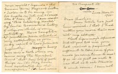 Letter from Clara Comstock Russell to Charles C. Russell (March 11, 1930)