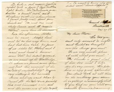 Letter from Cassie to Clara Comstock Russell (December 27, 1880)