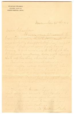 Letter from Clara Comstock Russell to Charles C. Russell (November 25, 1903)