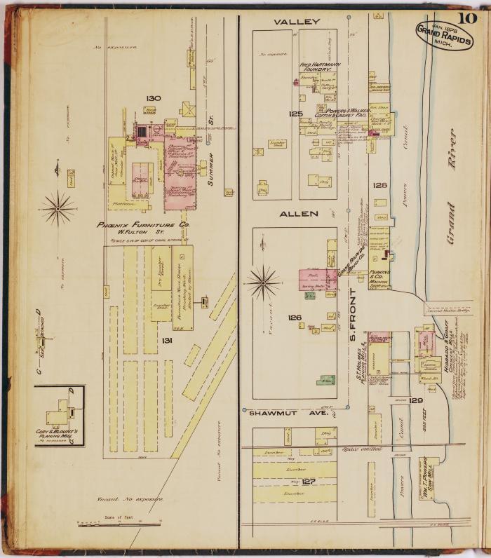 Sheet ten of the 1878 Sanborn Fire Insurance map for Grand Rapids, Michigan