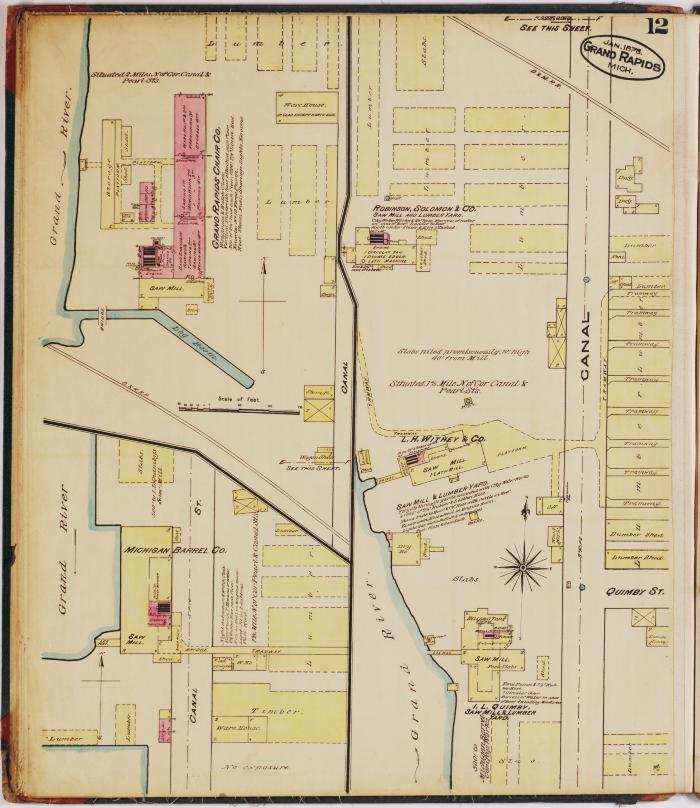 Sheet twelve of the 1878 Sanborn Fire Insurance map for Grand Rapids, Michigan