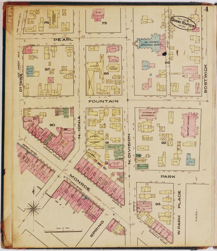 Sheet four of the 1878 Sanborn Fire Insurance map for Grand Rapids, Michigan