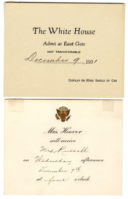 Letter from Mrs. Hoover to Clara Comstock Russell (December 9, 1931)