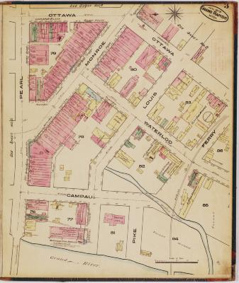 Sheet three of the 1878 Sanborn Fire Insurance map for Grand Rapids, Michigan