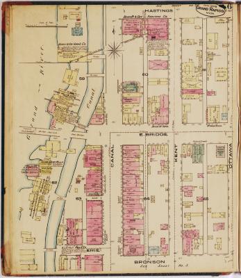 Sheet six of the 1878 Sanborn Fire Insurance map for Grand Rapids, Michigan