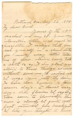 Letter from Smith G. Ketcham to Emily Burton Ketcham (August 26, 1898)