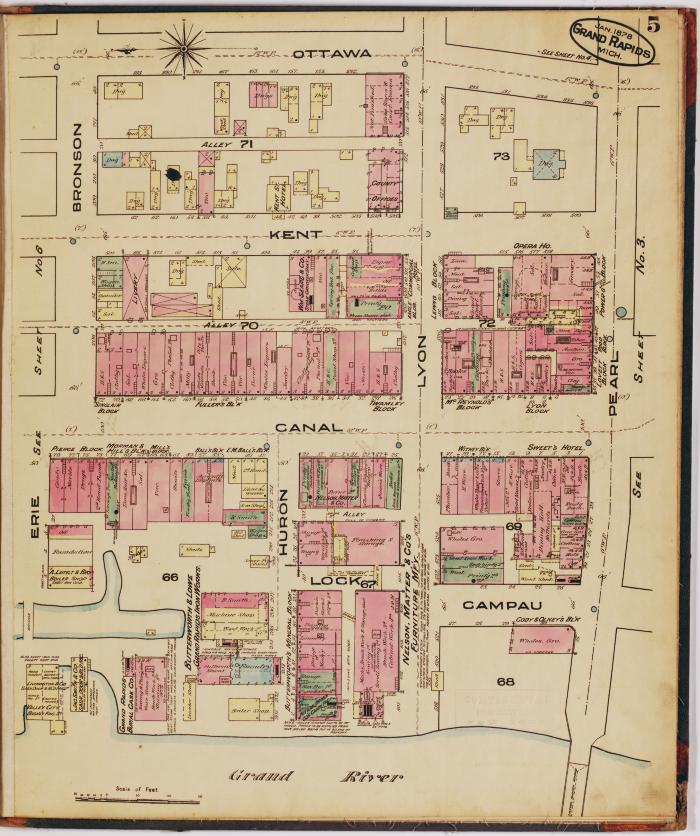 Sheet five of the 1878 Sanborn Fire Insurance map for Grand Rapids, Michigan