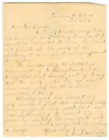 Letter from Irene Galusha to Clara Comstock Russell (February 13, 1895)