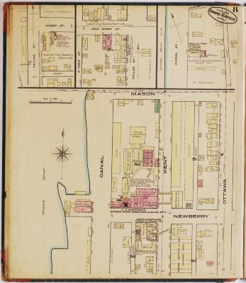 Sheet eight of the 1878 Sanborn Fire Insurance map for Grand Rapids, Michigan