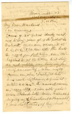 Letter from Emily Burton Ketcham to Smith G. Ketcham (May 10, 1905)