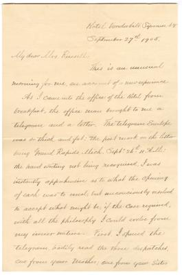 Letter from Thayer to Clara Comstock Russell (September 27, 1905)