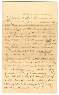 Letter from Emily Burton Ketcham to Smith G. Ketcham (May 1, 1905)