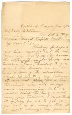 Letter from Smith G. Ketcham to Emily Burton Ketcham (June 7, 1898)