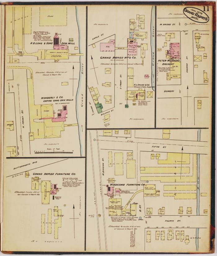 Sheet eleven of the 1878 Sanborn Fire Insurance map for Grand Rapids, Michigan
