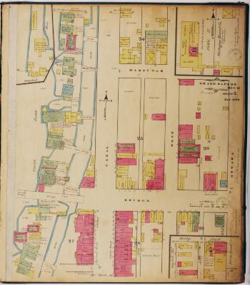 Sheet five of the 1874 Sanborn Fire Insurance map for Grand Rapids, Michigan