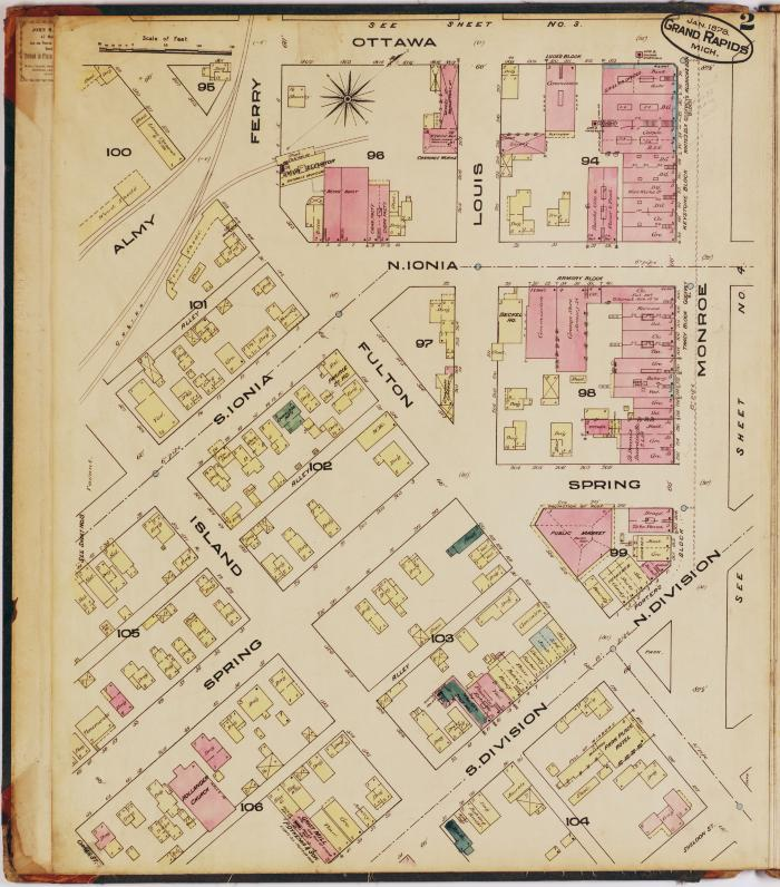 Sheet two of the 1878 Sanborn Fire Insurance map for Grand Rapids, Michigan