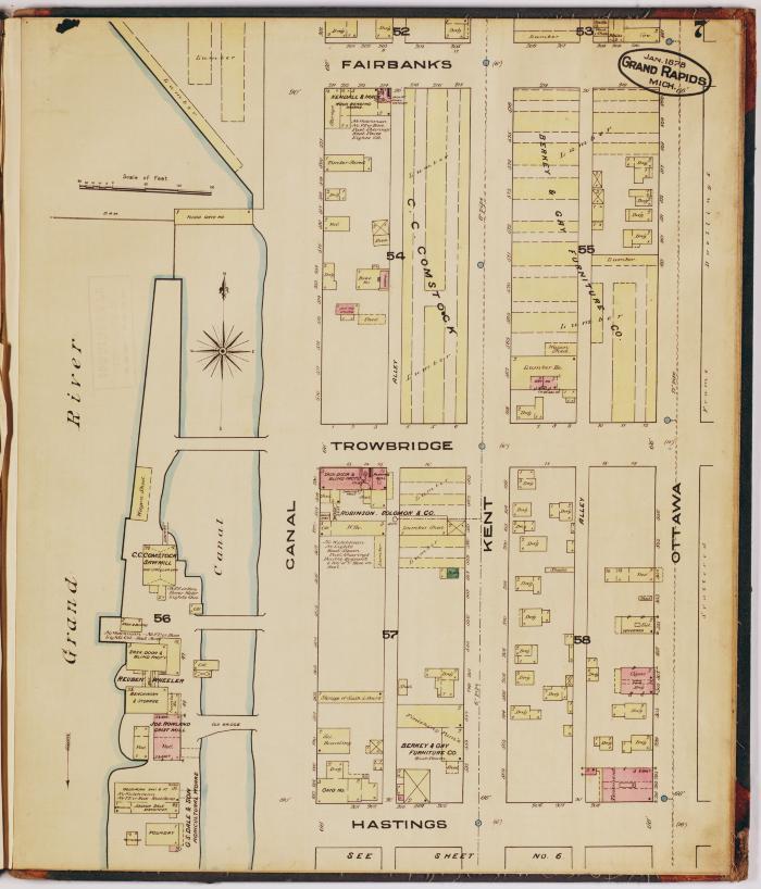 Sheet seven of the 1878 Sanborn Fire Insurance map for Grand Rapids, Michigan