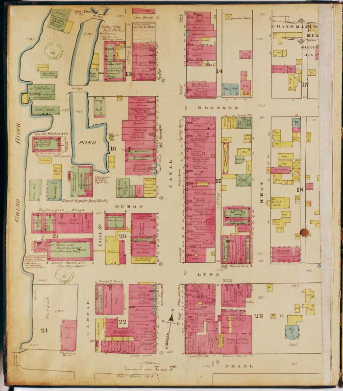 Sheet four of the 1874 Sanborn Fire Insurance map for Grand Rapids, Michigan