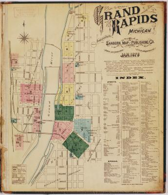 Title page and sheet one of the 1878 Sanborn Fire Insurance map for Grand Rapids, Michigan