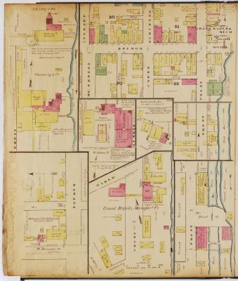 Sheet six of the 1874 Sanborn Fire Insurance map for Grand Rapids, Michigan