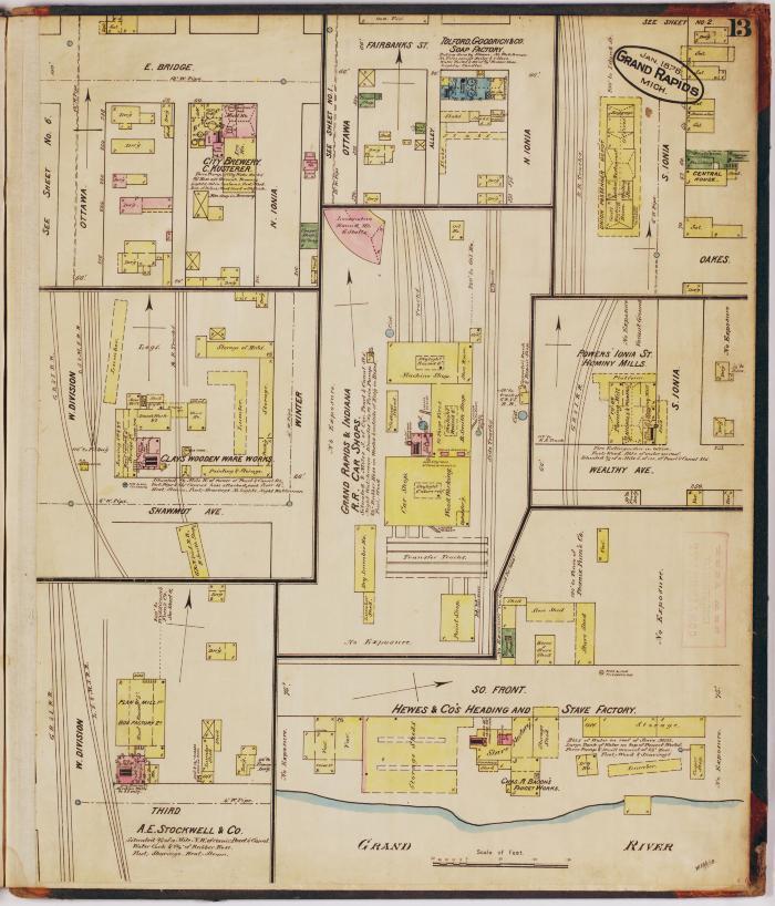 Sheet thirteen of the 1878 Sanborn Fire Insurance map for Grand Rapids, Michigan